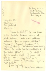 Thumbnail of Letter from Mary A. Adams to Crisis