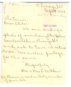 Thumbnail of Letter from Mr. & Mrs. E. M. Akin to Editor of the Crisis