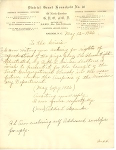 Thumbnail of Letter from Addie L. Alexander to Crisis