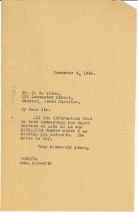 Thumbnail of Letter from W. E. B. Du Bois to J. S. Allee