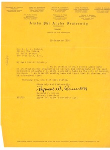 Thumbnail of Letter from Alpha Phi Alpha Fraternity to W. E. B. Du Bois
