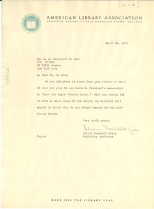 Thumbnail of Letter from American Library Association to W. E. B. Du Bois