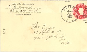 Thumbnail of Letter and envelope from N. B. Armwood to Crisis