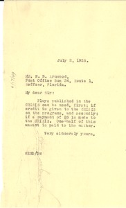 Thumbnail of Letter from W. E. B. Du Bois to N. B. Armwood