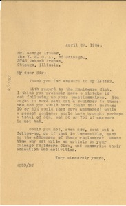 Thumbnail of Letter from W. E. B. Du Bois to George R. Arthur