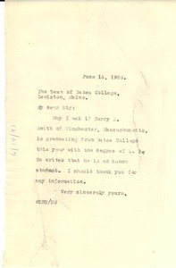 Thumbnail of Letter from W. E. B. Du Bois to Bates College