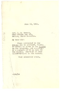 Thumbnail of Letter from W. E. B. Du Bois to I. B. Benson