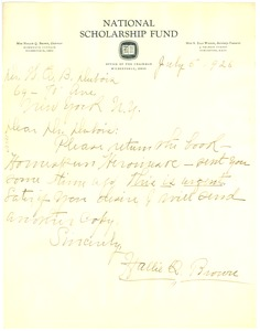 Thumbnail of Letter from Hallie Q. Brown to W. E. B. Du Bois