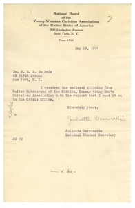 Thumbnail of Letter from Juliette Derricotte to W. E. B. Du Bois