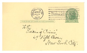 Thumbnail of Postcard from Harold Goodwin to the editor of The Crisis