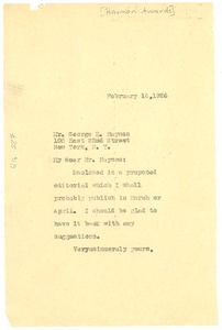 Thumbnail of Letter from an The Crisis to George E. Haynes