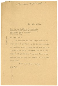 Thumbnail of Letter from W. E. B. Du Bois to I. A. Holder, Harrison High School Principal