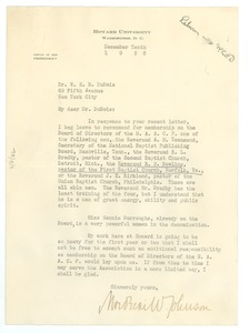 Thumbnail of Letter from Mordecai W. Johnson to W. E. B. Du Bois