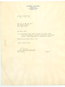 Thumbnail of Letter from G. A. Edwards to W. E. B. Du Bois