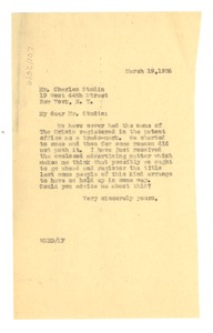 Thumbnail of Letter from W. E. B. Du Bois to Charles Studin