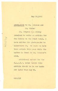 Thumbnail of Memorandum from W. E. B. Du Bois to Mr. Johnson