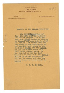 Thumbnail of Memorandum from W. E. B. Du Bois to the Crisis