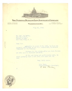 Thumbnail of Letter from the National Benefit Life Insurance Company to W. E. B. Du Bois