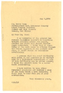 Thumbnail of Letter from W. E. B. Du Bois to Northeastern Life Insurance Company