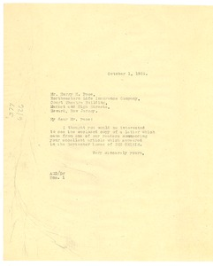 Thumbnail of Letter from Crisis to Harry H. Pace