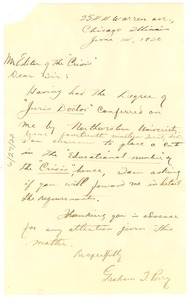 Thumbnail of Letter from Graham T. Perry to Editor of the Crisis