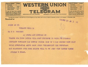 Thumbnail of Telegram from Julian W. Perry to W. E. B. Du Bois
