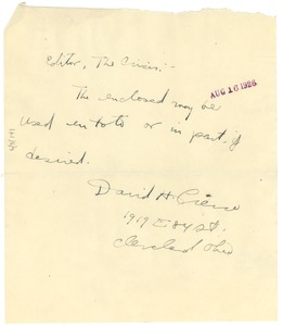 Thumbnail of Letter from David H. Pierce to Editor of the Crisis