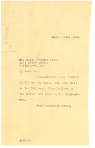 Thumbnail of Letter from W. E. B. Du Bois to Cecil France Poole