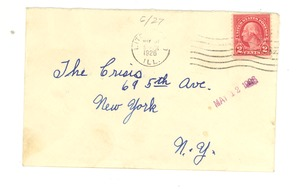 Thumbnail of Letter and envelope from Mrs. O. B. Price to Crisis