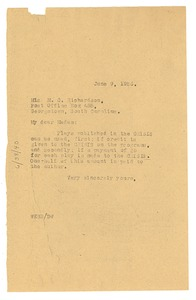 Thumbnail of Letter from W. E. B. Du Bois to M. C. Richardson