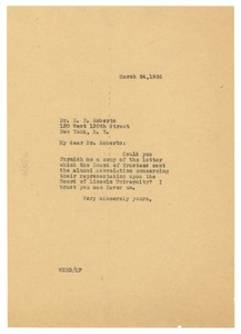 Thumbnail of Letter from W. E. B. Du Bois to E. P. Roberts