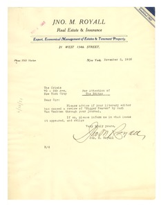 Thumbnail of Letter from John M. Royall to Editor of the Crisis