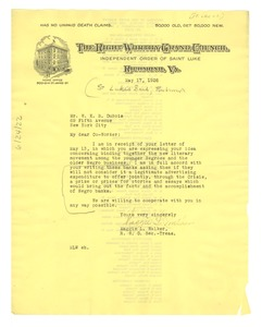 Thumbnail of Letter from Independent Order of St. Luke to W. E. B. Du Bois