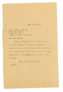Thumbnail of Letter from W. E. B. Du Bois to Annie Sanders