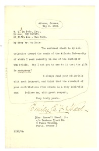 Thumbnail of Letter from Mrs. Roswell Skeel, Jr. to W. E. B. Du Bois