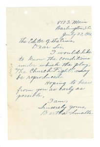 Thumbnail of Letter from Bertha L. Smalls to Editor of the Crisis
