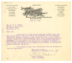 Thumbnail of Letter from Southern Aid Society of Virginia to W. E. B. Du Bois
