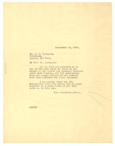 Thumbnail of Letter from Crisis to J. E. Spingarn