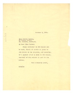 Thumbnail of Letter from W. E. B. Du Bois to Olivia Upshaw