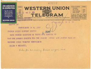 Thumbnail of Telegram from Salem T. Whitney to Crisis