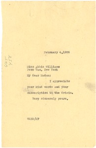 Thumbnail of Letter from W. E. B. Du Bois to Abbie Williams
