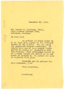 Thumbnail of Letter from Crisis to Lucius E. Williams