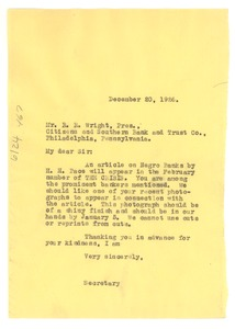 Thumbnail of Letter from Crisis to R. R. Wright, Sr.