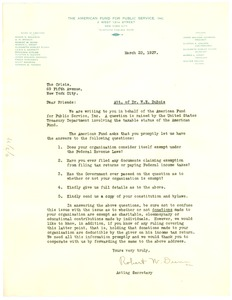 Thumbnail of Letter from The American Fund for Public Service, Inc. to The Crisis
