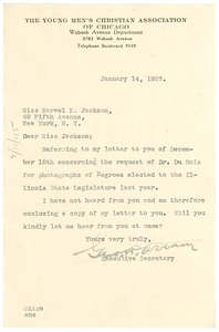 Thumbnail of Letter from George R. Arthur to Marvel K. Jackson