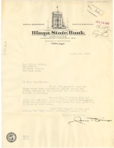 Thumbnail of Letter from Binga State Bank to W. E. B. Du Bois