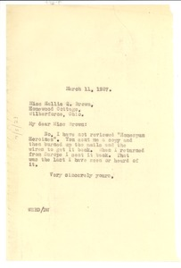 Thumbnail of Letter from W. E. B. Du Bois to Hallie Q. Brown