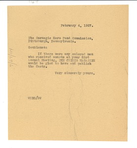 Thumbnail of Letter from W. E. B. Du Bois to the Carnegie Hero Fund Commission