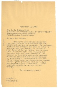 Thumbnail of Letter from W. E. B. Du Bois to Citizens and Southern Bank and Trust Company
