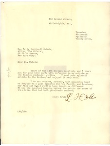 Thumbnail of Letter from L. F. Coles to W. E. B. Du Bois